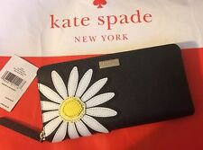 NWT Kate Spade Down The Rabbit Hole Daisy Applique Lacey Zip Wallet Black