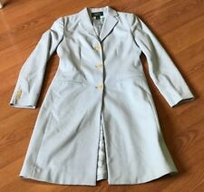 LAUREN RALPH LAUREN WOOL JACKET COAT TRENCH DRESS LENGTH BUTTON DOWN BLUE SIZE 6