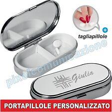 IDEA REGALO PORTAPILLOLE METALLO MEDICINE 2 SCOMPARTI PERSONALIZZATO TAGLIA