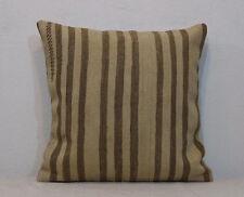 20''x20''Cream Brown Striped,Organic Wool,Kilim Pillow Cover,50x50 Cm Pillows