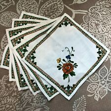 Vintage Set of 6 Small Hippy Flower Heart Print Cloth Napkins 10""