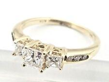 3 Stone 14 Karat Yellow Gold Princess Cut 1.00 Carat Diamond Engagement Ring