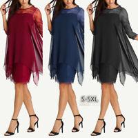 Women New Fashion Chiffon Overlay Three Quarter Sleeve Lace Dress Oversize S-5XL