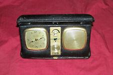 Vintage Elgin Travel Alarm Clock with AM Radio Old Suitcase Windup Desk Bedside