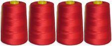 Rojo Hilo de coser 120s Hilo Poliéster, bloqueo, 4572m, x4 CONOS