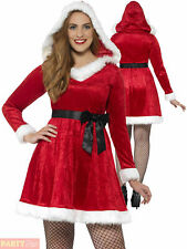 Ladies Curves Miss Santa Costume Adults Christmas Fancy Dress Plus Size Outfit