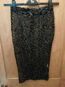 BLACK SHEER SEE THROUGH GLITTER LACE TIGHT PENCIL SKIRT FROM OH POLLY SIZE 6