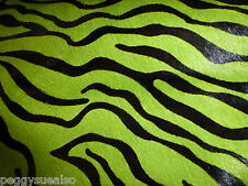 "Hair On Leather 8""x10"" Mini Lime Green ZEBRA / Tiger and BLACK H0H Cow hide"