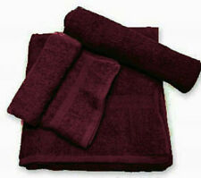 60 (5 doz) new burgundy salon hand towels dobby border ringspun cotton 16x27 3#