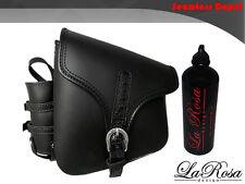 LaRosa Black Leather Gator Emboss Strap HD Chopper Bobber Saddlebag + Gas Bottle