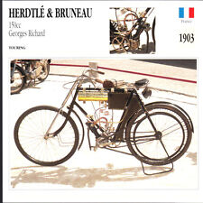 1903 Herdtle & Bruneau 150cc Georges Richard Motorcycle Photo Spec Sheet Card