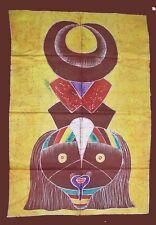 Grand Batik africain jaune de Cote d'Ivoire masque baule baoulé