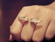 Korean Stylish Vintage Angel Wing Gold Plated Crystal Retro Lovely Cute Ring