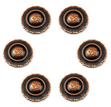 Conchos Lot Of 6 Copper Center Rope Saddle Rodeo Western Leather Craft 1-1/2 ""