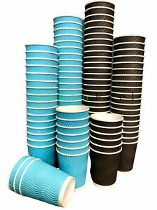 8oz Insulated Ripple Paper Cups For Hot Drinks With Lids Blue & Brown Paper Cups