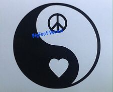 Car Window Decal Yin Yang Heart and Peace Sign Love Hippie Truck Vinyl Sticker