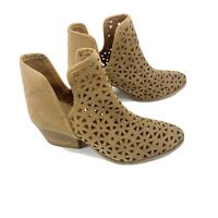 Anthropologie Musse & Cloud Ame Laser Cut Tan Leather Ankle Booties Sz 12 M