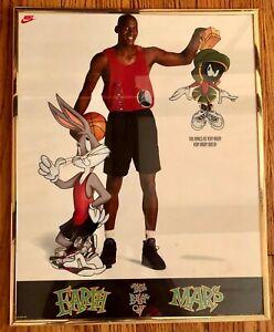 Michael Jordan Space Jam Nike Bugs Bunny Marvin the Martian Framed Poster