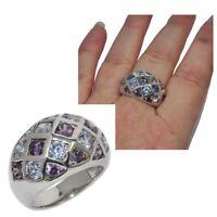 Bague boule en argent massif 925 zirconium violet clair et foncé T 58 bijou