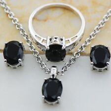 Elegant 925 Silver Oval Cut Black Topaz Rings + Necklace Pendant +Earring Set