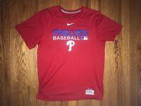Philadelphia Phillies Nike Dri Fit T Shirt Red Mens Small Preowned Nike MLB