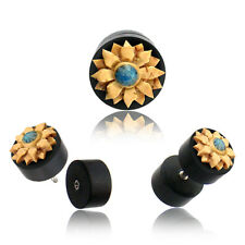 PAIR EBONY WOOD FAKE INLAY COCO SHELL FLOWER TURQUOISE CHEATER PLUGS 18g PLUG 2G