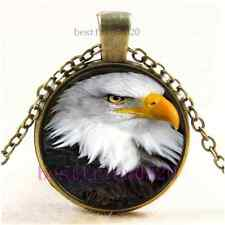 Vintage Eagle Photo Cabochon Glass Bronze Chain Pendant Necklace