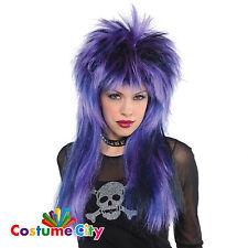 Adults Purple Black & Blue Rock Steady Wig Fancy Dress Costume Accessory