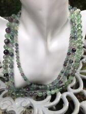 3 Strand Of Purple Green Fluorite Beads 22inch