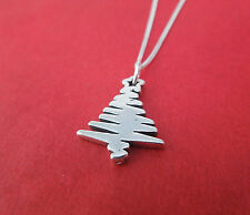 Sterling Silver 925 Christmas Tree Necklace Xmas Winter Themed