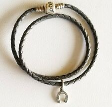 Pandora Grey Leather Double Wrap Bracelet With Horseshoe CZ Dangle Charm