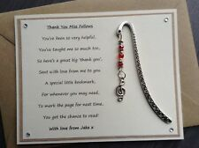 Thank You Music Teacher Personalised Poem Magnet Treble Clef Bookmark. Piano SVH