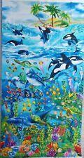"Sea Life Fabric Panel Ocean Blue Timeless Treasures 23"" x 44"" Patriotic Panel"