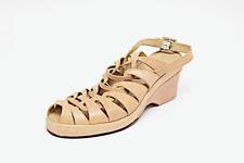 STEPHANE KELIAN Beige Embossed Leather Platform Heels  4.5/7  Removable Strap