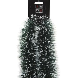 3M Chunky Snow Tipped Green Tinsel Christmas Tree Decoration Garland Xmas