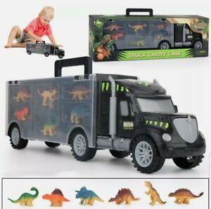 Dinosaur Truck Carry Case Transporter + 6 Toy Dino Figures Jurassic Playset Car