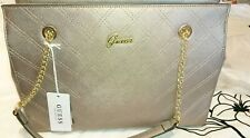 Guess Nevet Satchel Bag Pewter Pu Leather Bnwt Gold Coloured Details Bnwt