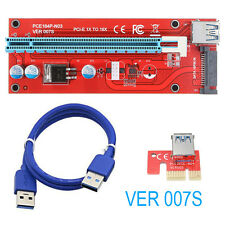 PCI-E Express 1X to 16X Riser Card Adapter + USB 3.0 Extender Cable SATA ETH BTC