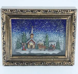Raz Imports Town Scene Lighted Water Picture Frame Winter Church Christmas USED