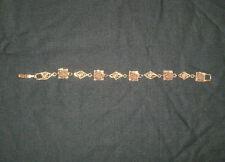 VNTG GOLDETTE VICTORIAN REVIVAL GOLD TONE FILIGREE LINK BRACELET FACES & ROSES