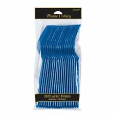 20pk Luminoso Blu Royal Posate di Plastica - Forchette Festa
