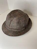 Vintage London Fog Hat Brown Tweed Bucket Hat Size XL 7 1/2-7 5/8 Made In USA