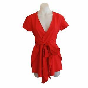 Tiger Mist Size S Red Tie Waist Playsuit Romper Boho