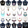 Fashion Women Crystal Bib Necklace Pendant Chain Statement Choker Chunky Jewelry
