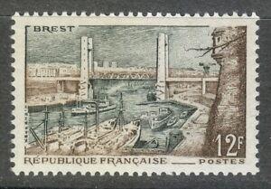 France 1957 MNH Mi 1144 Sc 836 Brest. Harbor. Ships **
