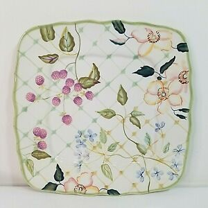 """TRACY PORTER The Evelyn Collection 11"""" Square Dinner Plate Fruit Flowers Lattice"""
