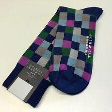 Mens CHARLES TYRWHITT Socks UK 6-10 Size M BLUE GREY PURPLE Small Check Cotton