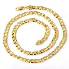 cuban link figaro chain 18K real Solid Gold Filled Mens Necklace 24 in jewelry