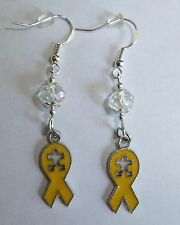 HANDCRAFTED AUTISM SWARVOSKI CRYSTAL DANGLE EARRINGS (CHOSE FROM 4 COLORS)