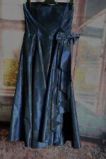 Vestido de fiesta señoras Vintage 80s Laura Ashley Azul Marino azul de medianoche-UK14